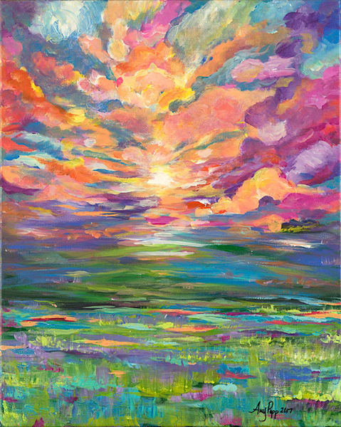 Peach Sunset fine art print by Amy Popp.