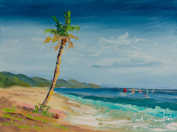 "#1930 ""FIVE WINDSURFERS AND PALM"" J.HAMILTON 9-3-2014© 9X12 OIL ON CANVAS.NEF"