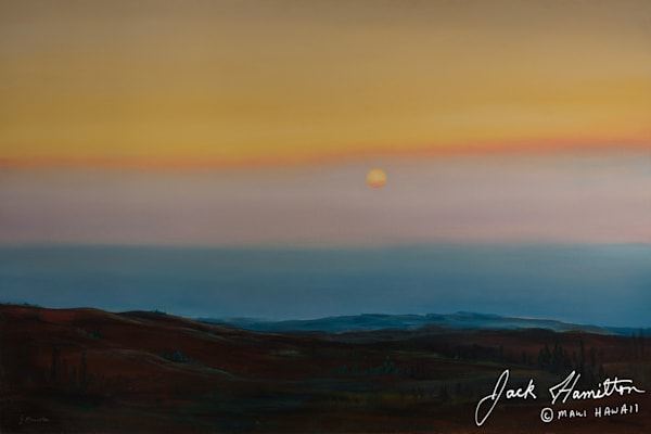 "#1198 ""VOGGY SUNSET FROM ULUPALAKUA"" J.HAMILTON 3-8-2005© 36X54 OIL ON CANVAS ETP.NEF"