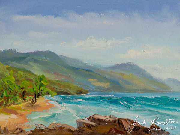 "#1070 ""MAUI PAPALAUA COAST"" J.HAMILTON 9-9-2015© 6X8  OIL ON CANVAS.NEF"