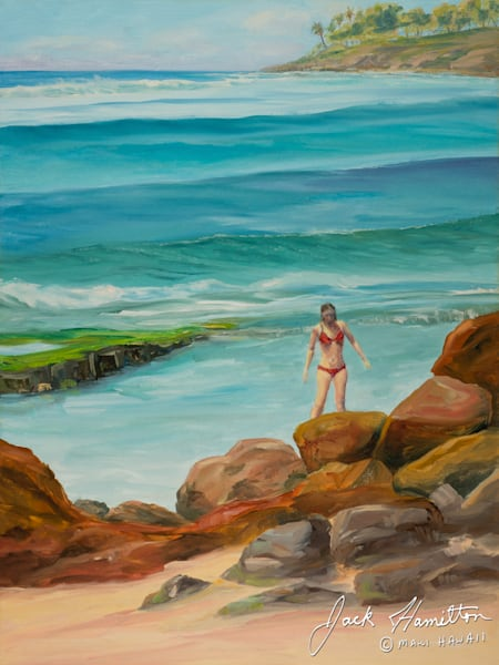 "#1350 ""WOMAN IN RED AT KUAU BEACH"""