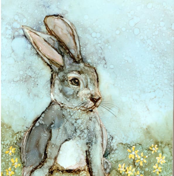 little critter, art prints, bunny by Heidi Stavinga in alcohol ink