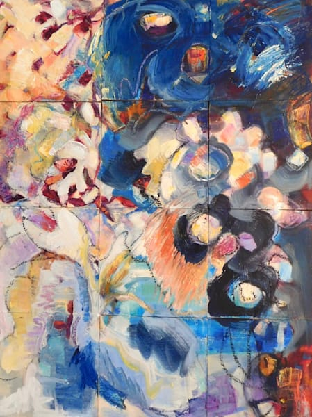 abstracted heavenly figures oil paintings abstracted figure, stars, landscape