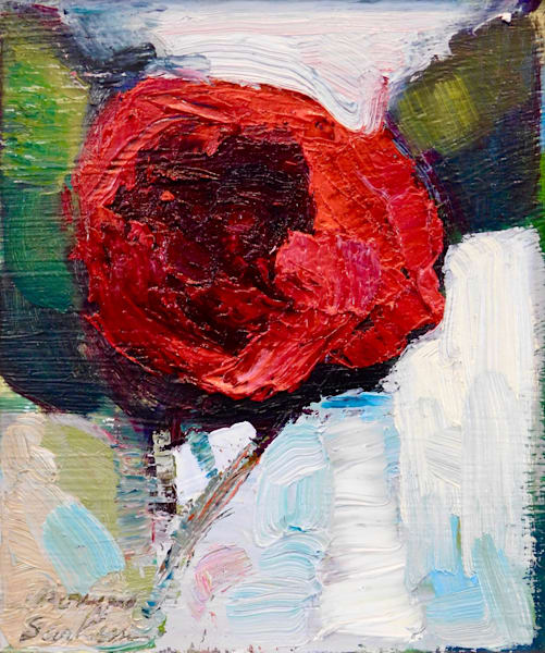 Beautiful floral still life oil painting on wood of red camellia flower in a vintage bottle.
