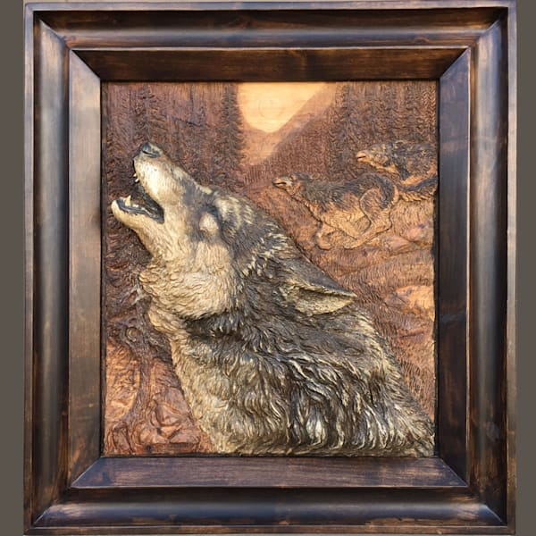 Wolf Cry – Deep Relief Wood Carving