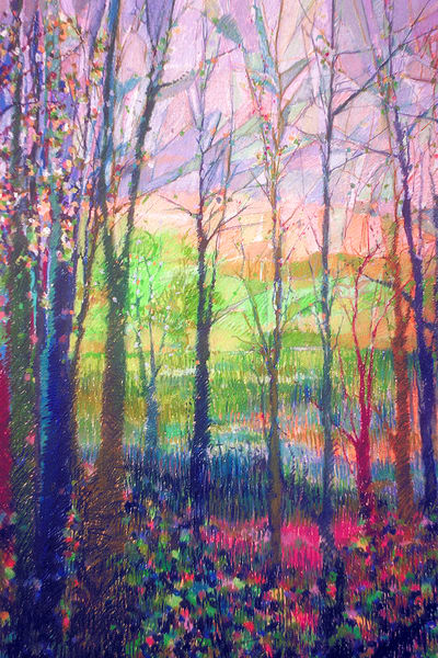 Colorful Abstract Trees Painting, Two Sisters Art Print by Dorothy Fagan