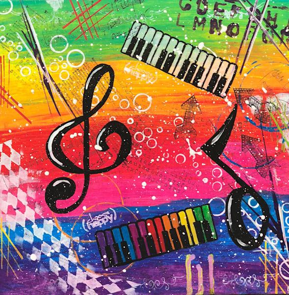 UpBeat Original Acrylic Painting - Artist Ellen May Original Painting - Music Original Painting by artist Ellen May