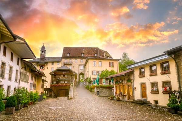 Village of Gruyeres , Fribourg, Switzerland