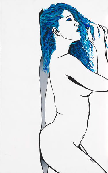 Simply So Sexy- Sultry Blues- Acrylic painting by Navy Veteran and artist Angelo T. Robinson