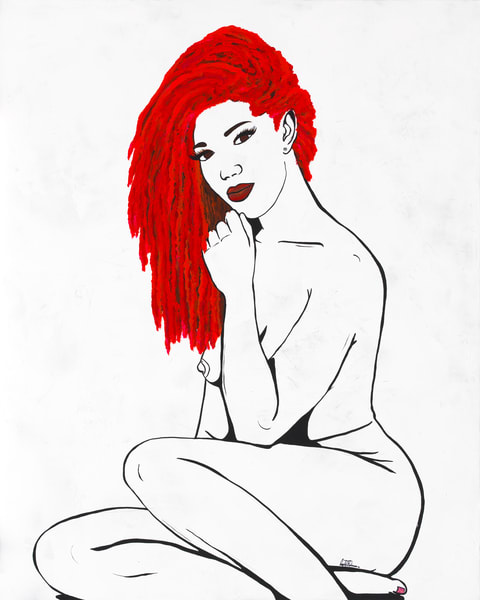 Simply So Sexy- Red Velvet- Acrylic figure painting by Navy Veteran and artist Angelo T. Robinson