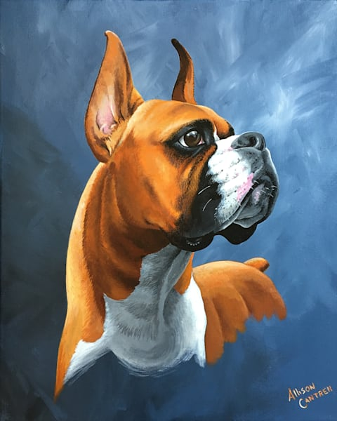 boxer painting print from allison cantrell