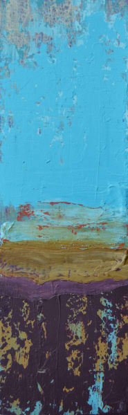 blue long thin painting, new mexico sky, beautiful, collected