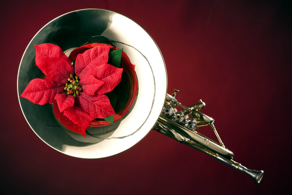 French Horn and Red Canvas Print 2079. 07