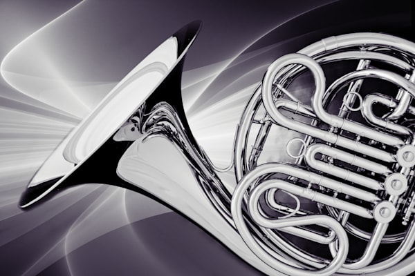 French Horns Art Photographs in Black and White