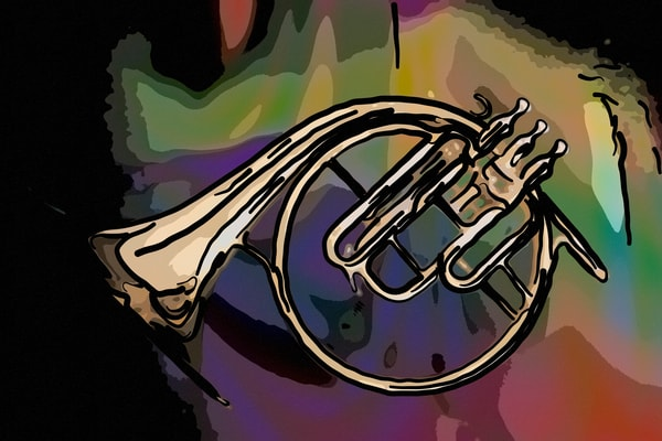 French Horn Painting 2081.48 Antique Classic