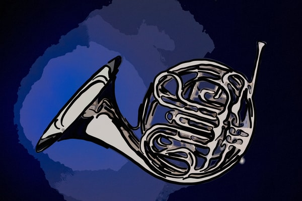 Silver French Horn Painting 2081.54 On Blue