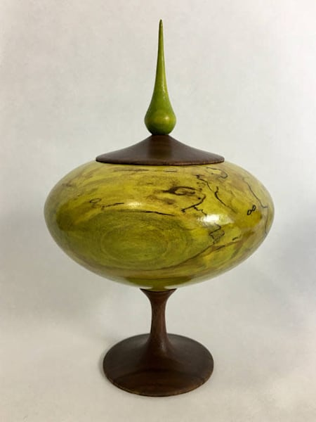 Lime Green Spalted Maple and Walnut Wood Vessel