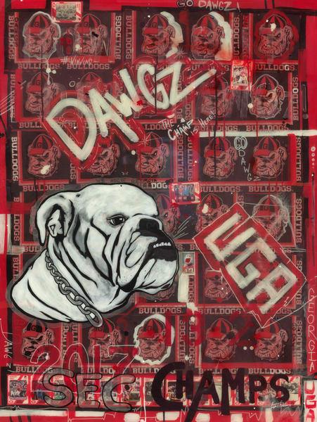 Georgia Bulldogs- Mixed Media Art- College Football Art- Sports Art- ATR Fine Art painting