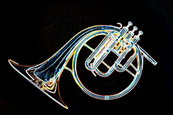 French Horn Dark Drawing Fine Art Prints