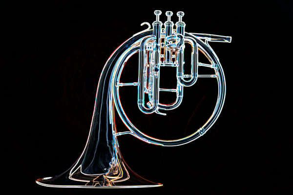 Fine Art French Horn Drawing Print 2083.18