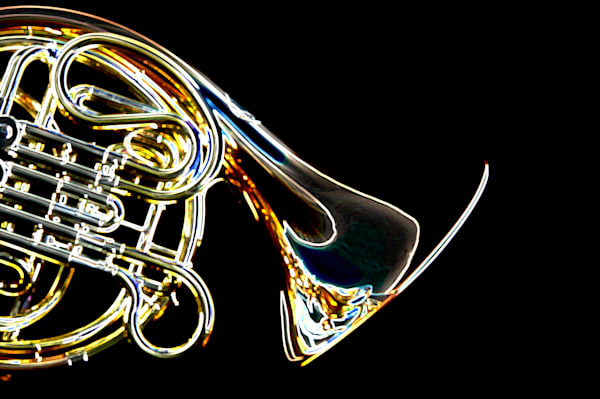 French Horn body Drawing Print 2083.31