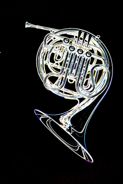French Horn Drawing Art Print 2083.16