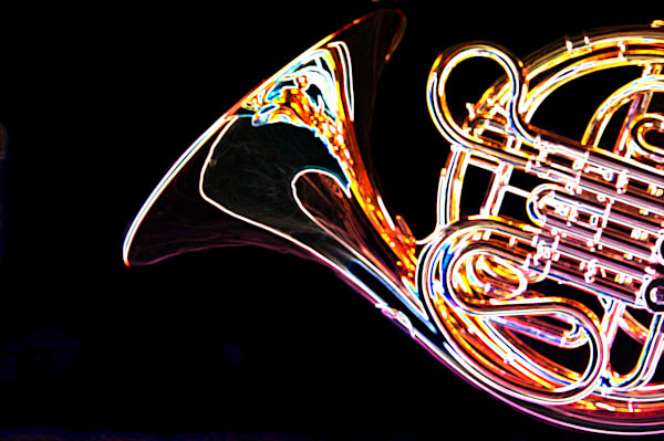French Horn Drawing Print Metal Art 2083.27