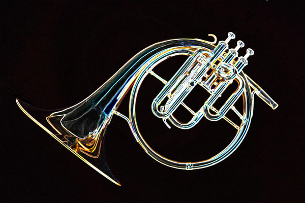 French Horn Antique Drawing Print 2083.11