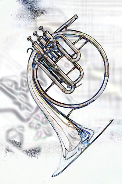 French Horn Wall Art Watercolor Print 2084.41