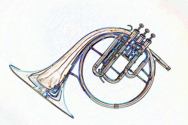 Simple Antique French Horn Watercolor Print 2084.49