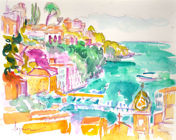 Colorful Sorrento Watercolor Art Print, Marina Grande by Dorothy Fagan