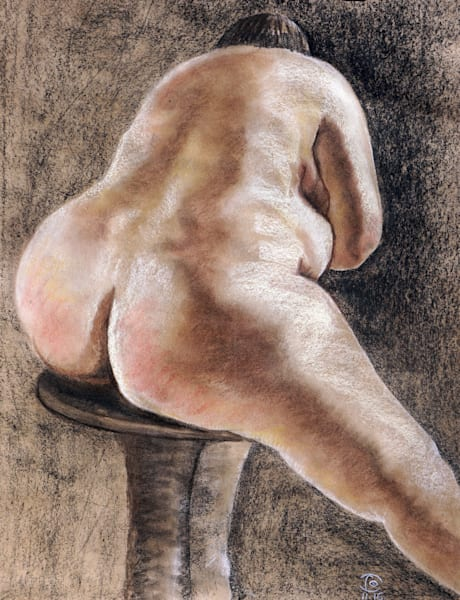 Nude on Round Chair -Fine Art and Prints on Canvas, Paper, Metal & More by Irina Malkmus