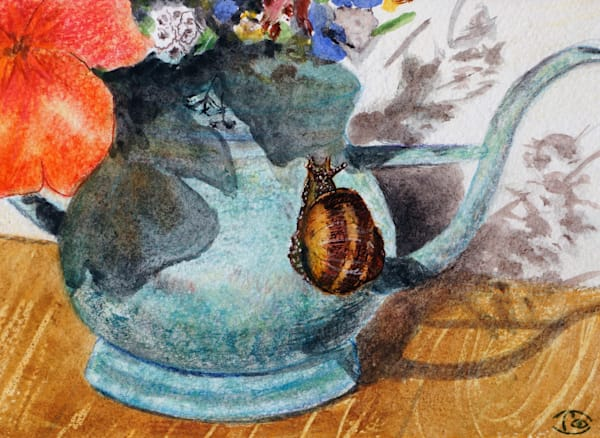 Snail on The Watering Can -  Fine Art Prints on Canvas, Paper, Metal & More by Irina Malkmus