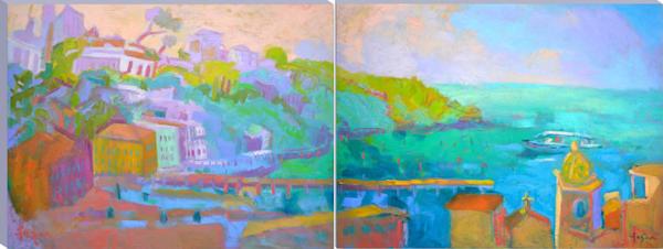 Designer Sets Colorful Landscape Art Paintings Canvas Prints
