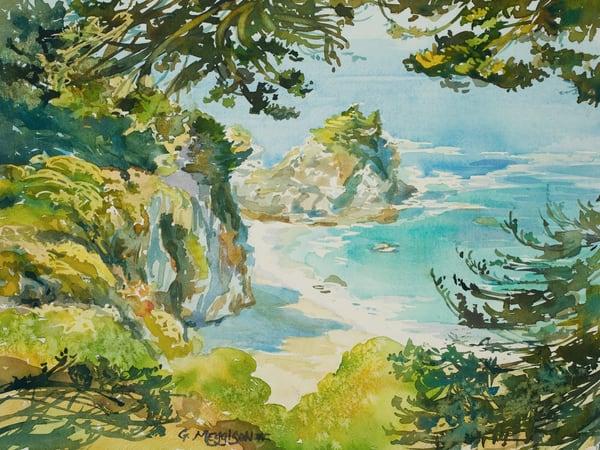McWay Falls Midday | Watercolor Landscapes | Gordon Meggison IV
