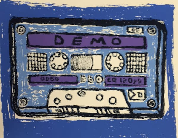 Demo Tape in Blue 4 Color Hand Pulled Screenprint  on Canson Paper