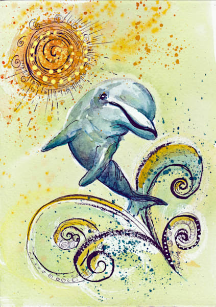 Happy Dancing Yellow Dolphin