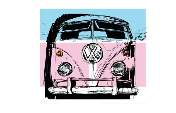 VW vintage van pink