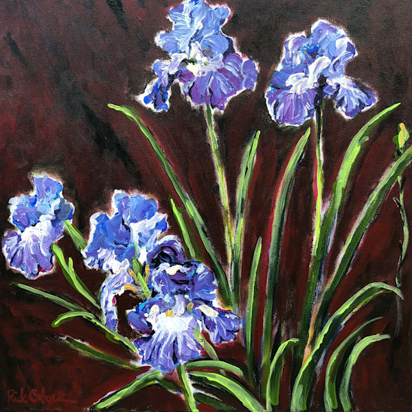 Purple Irises | Fine Art Painting Print by Rick Osborn