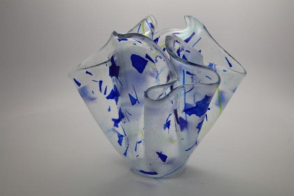 0036 Blue Confetti Vase Art | Midamericanartisans