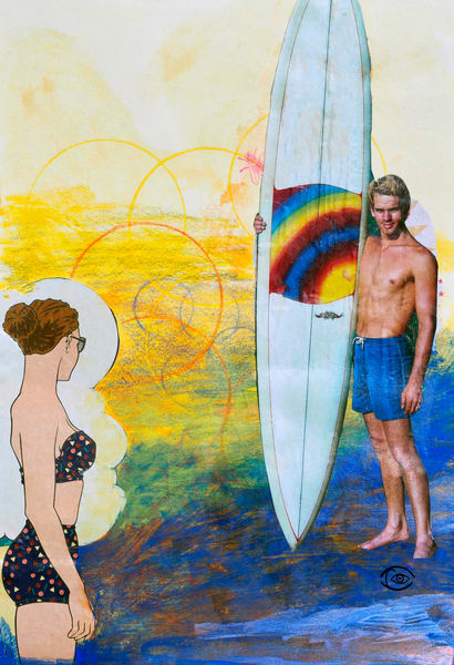 Surfing and Fishing - Irina Malmus art gallery. Order fine print of the unique art on paper, metal and canvas