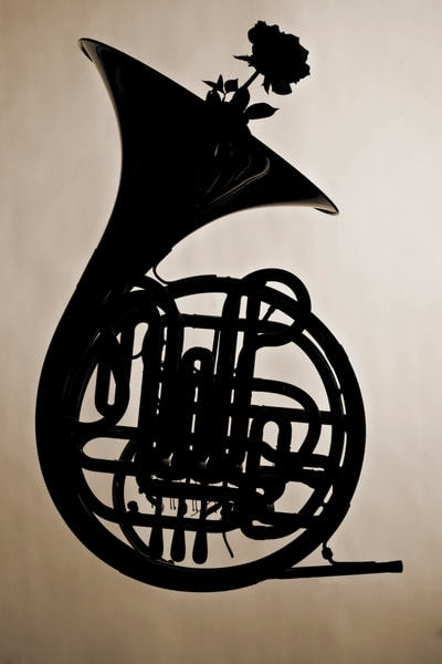 French Horn Silhouette  With Rose 2488.06