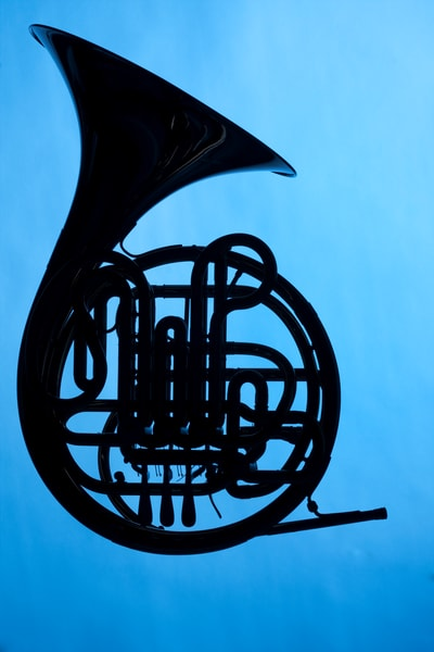 French Horn Silhouette on Blue  Wall Art 2488.04