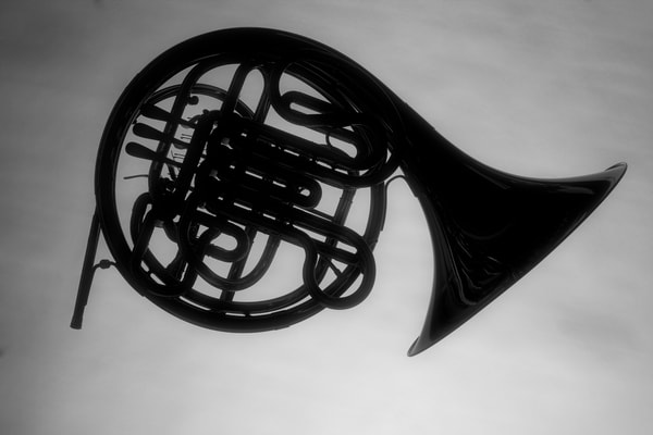 French Horn Silhouette On Gray Music Art 2488.02