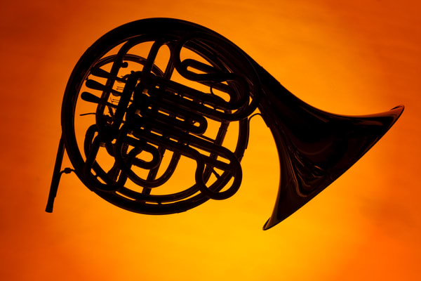French Horn Silhouette on Orange 2488.05