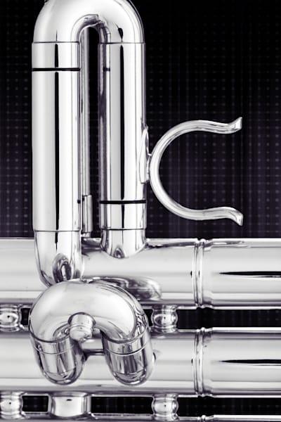 Trumpet Valve Slide In Black and White 2502.46