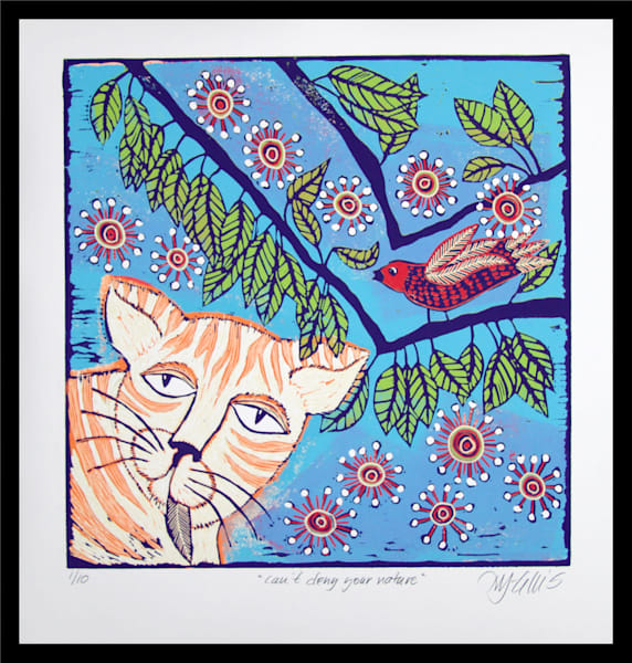 for cat lovers, a linocut original print by Mariann Johansen-Ellis, art, paintings