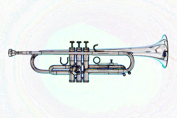 Trumpet Watercolor Metal Wall Art 2506.23