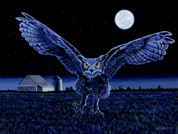 Original painting of an owl in mid-air hunt with full moon, available as art prints.