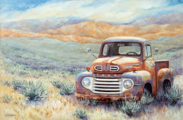 rusty old 48 ford pickup truck located in a field of sagebrush in